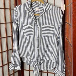 White blue tie front button down shirt